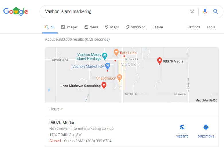 Vashon Island Google and Bing listing assistance